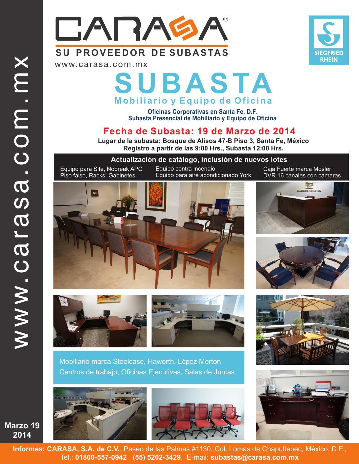 Catalogo subasta de mobiliario y equipo de oficina for Mobiliario y equipo de oficina