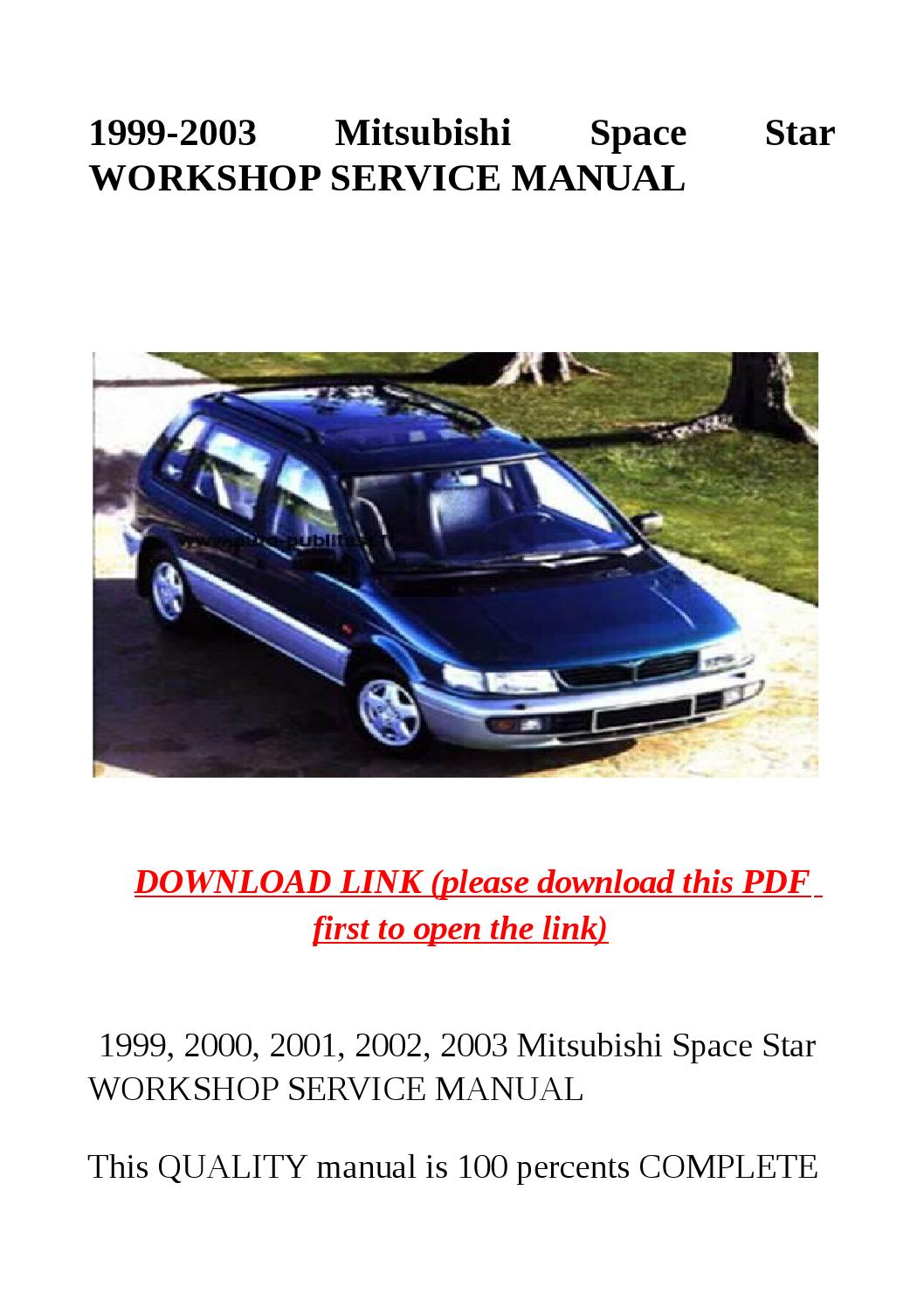 1999 2003 Mitsubishi Space Star Workshop Service Manual By