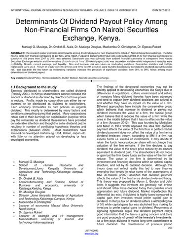 determinants of dividend payout ratio essay King'wara, (2015) carried out a study on determinants of dividend payout ratios in kenya he dividend payout ratio was dependent variable while.