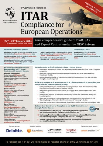 5th advanced forum on itar compliance for european operations by page 1 platinumwayz