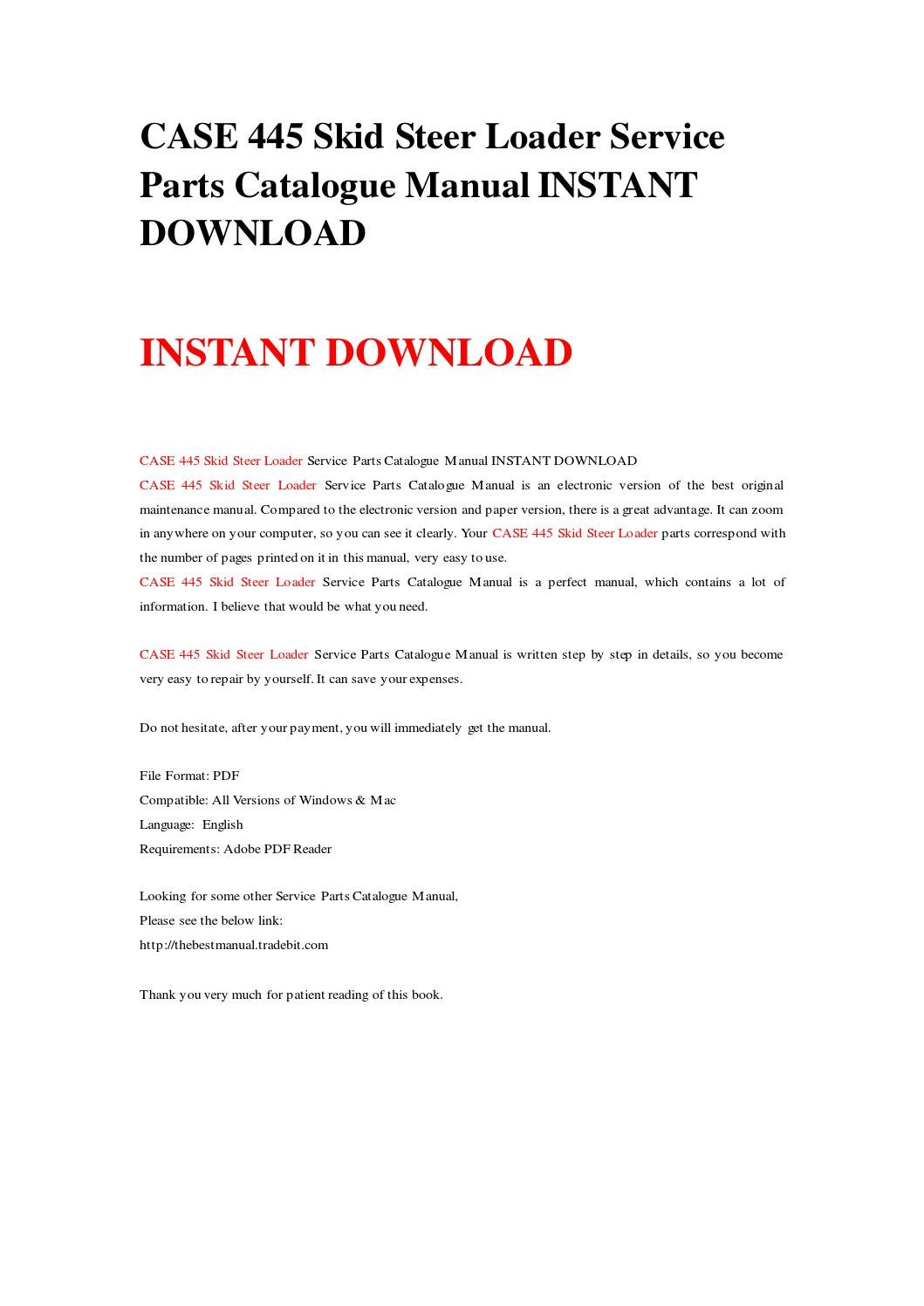 Case 445 skid steer loader service parts catalogue manual instant download  by rrrepairmanual - issuu