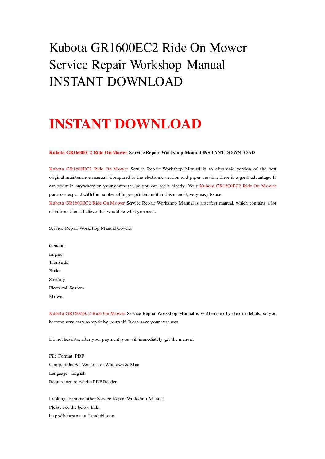 Kubota gr1600ec2 ride on mower service repair workshop manual instant  download by rrrepairmanual - issuu
