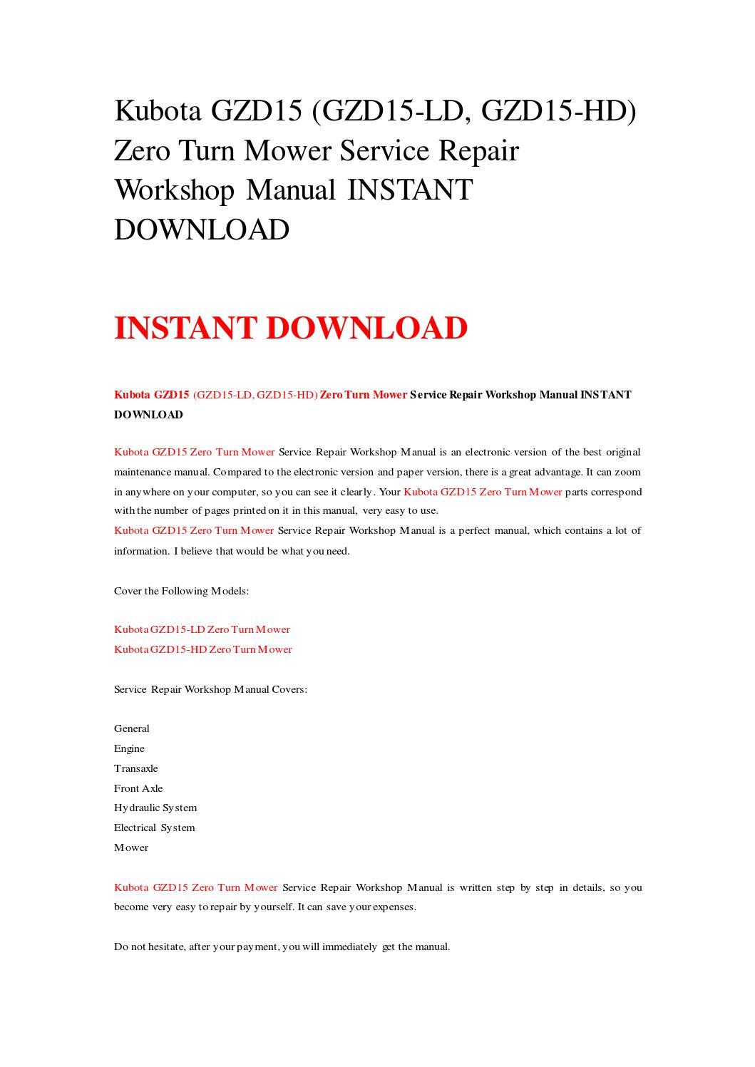 Kubota gzd15 (gzd15 ld, gzd15 hd) zero turn mower service repair workshop  manual instant download by rrrepairmanual - issuu
