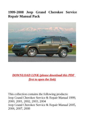2000 Jeep Cherokee Service Manual Pdf