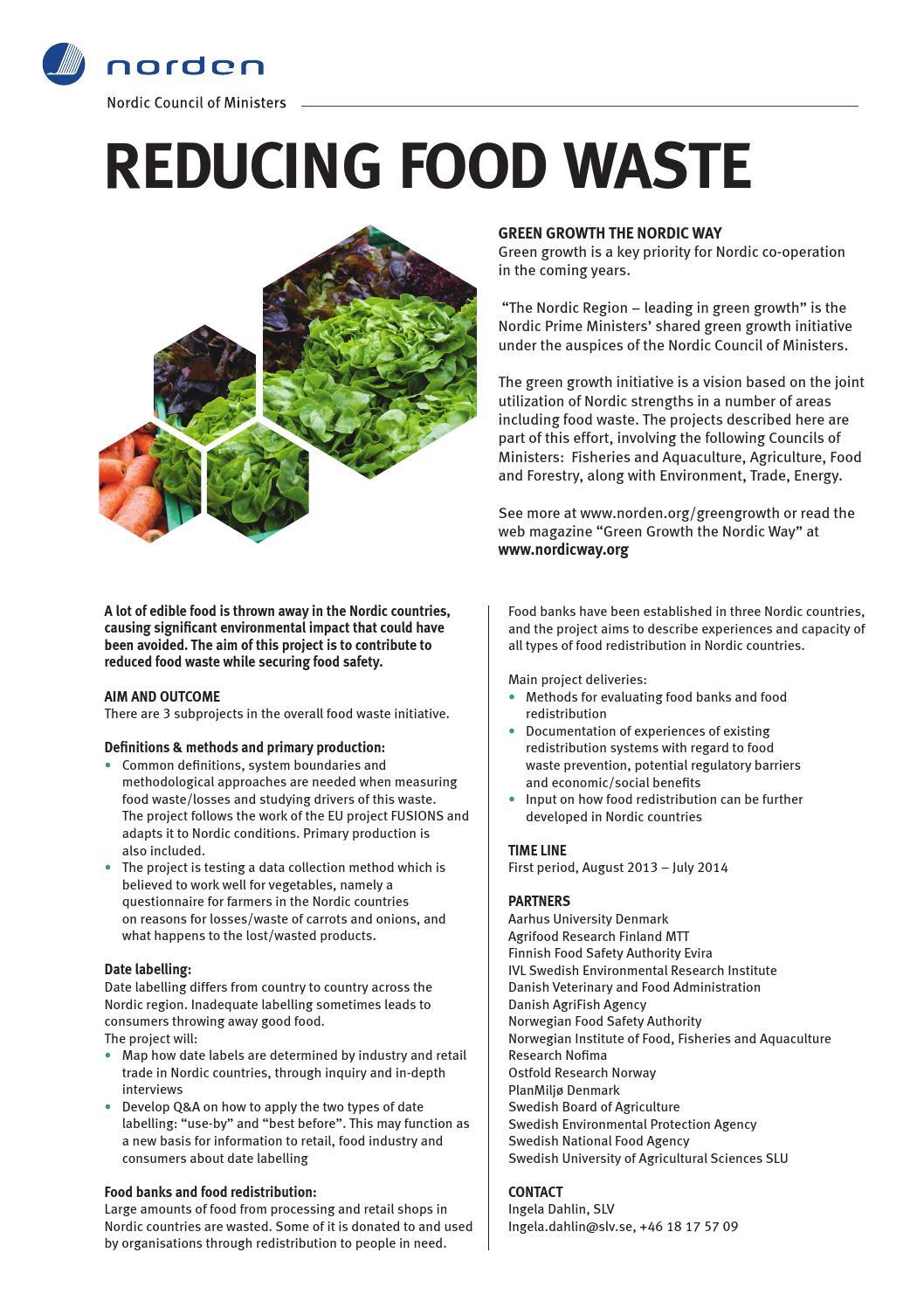 REDUCING FOOD WASTE by Nordisk Ministerråd - issuu