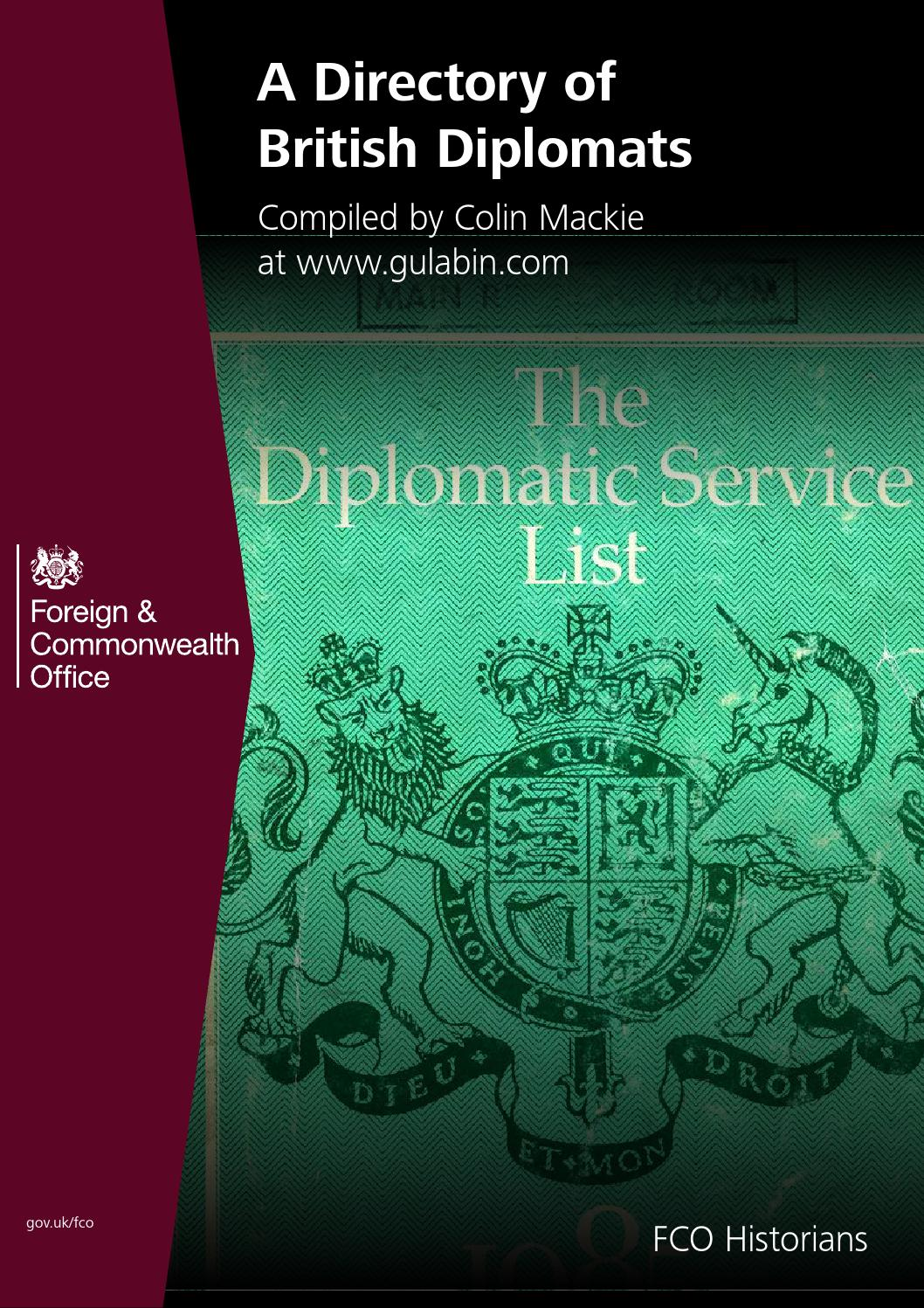 British Diplomats Directory: Part 1 of 4 by FCO Historians - issuu