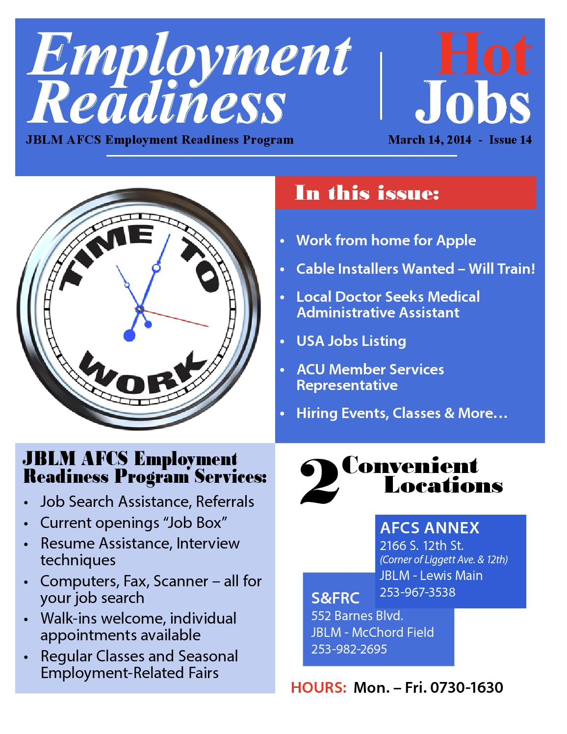 jblm employment readiness hot jobs  issue 14  mar 2014  by