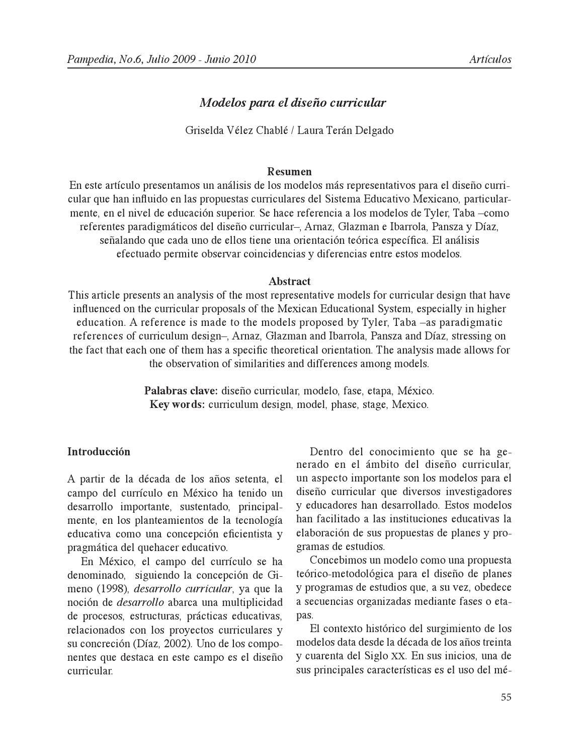 Modelos diseño curricular de velez y teran by Cristina de Silva - issuu