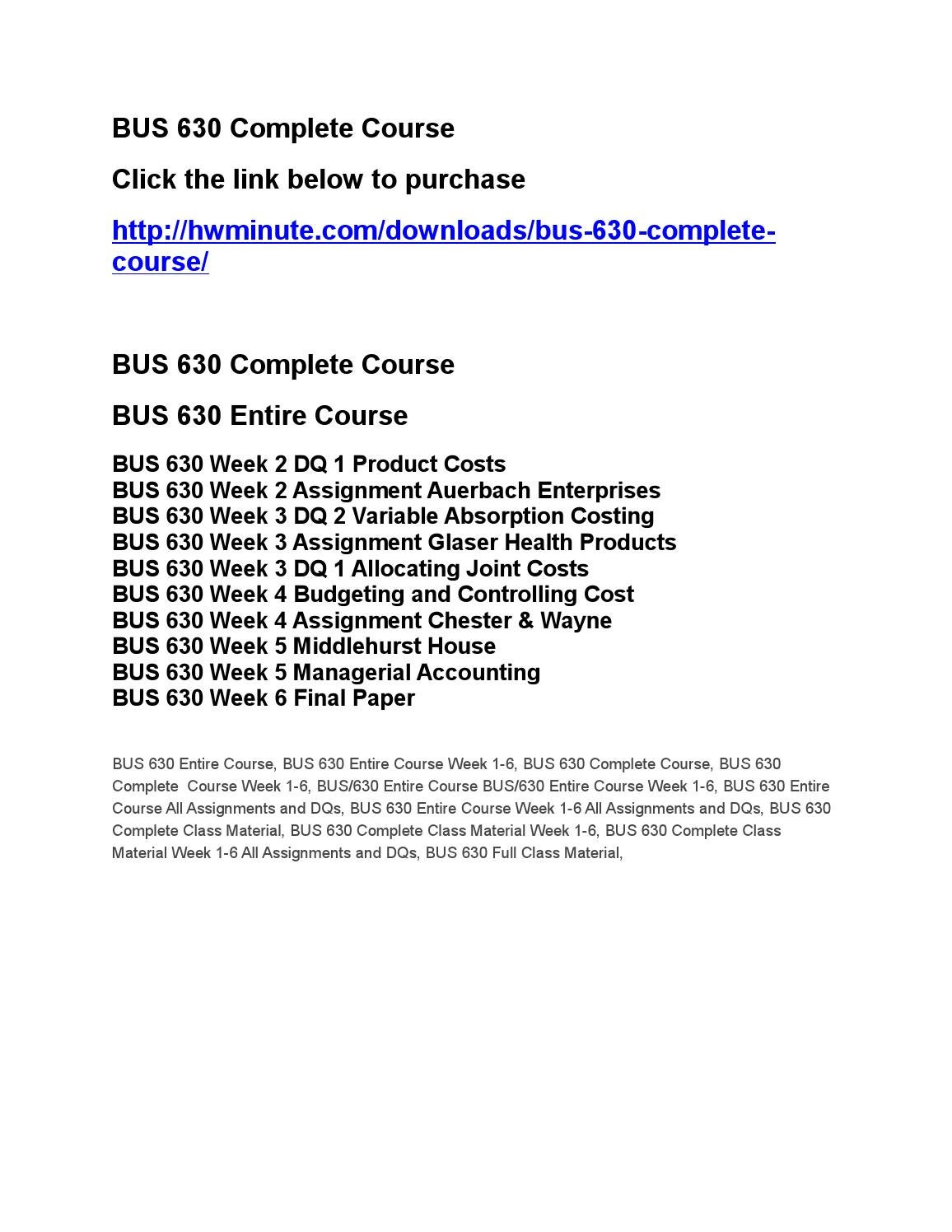 BUS 630 NEW Course Tutorial / uophelp