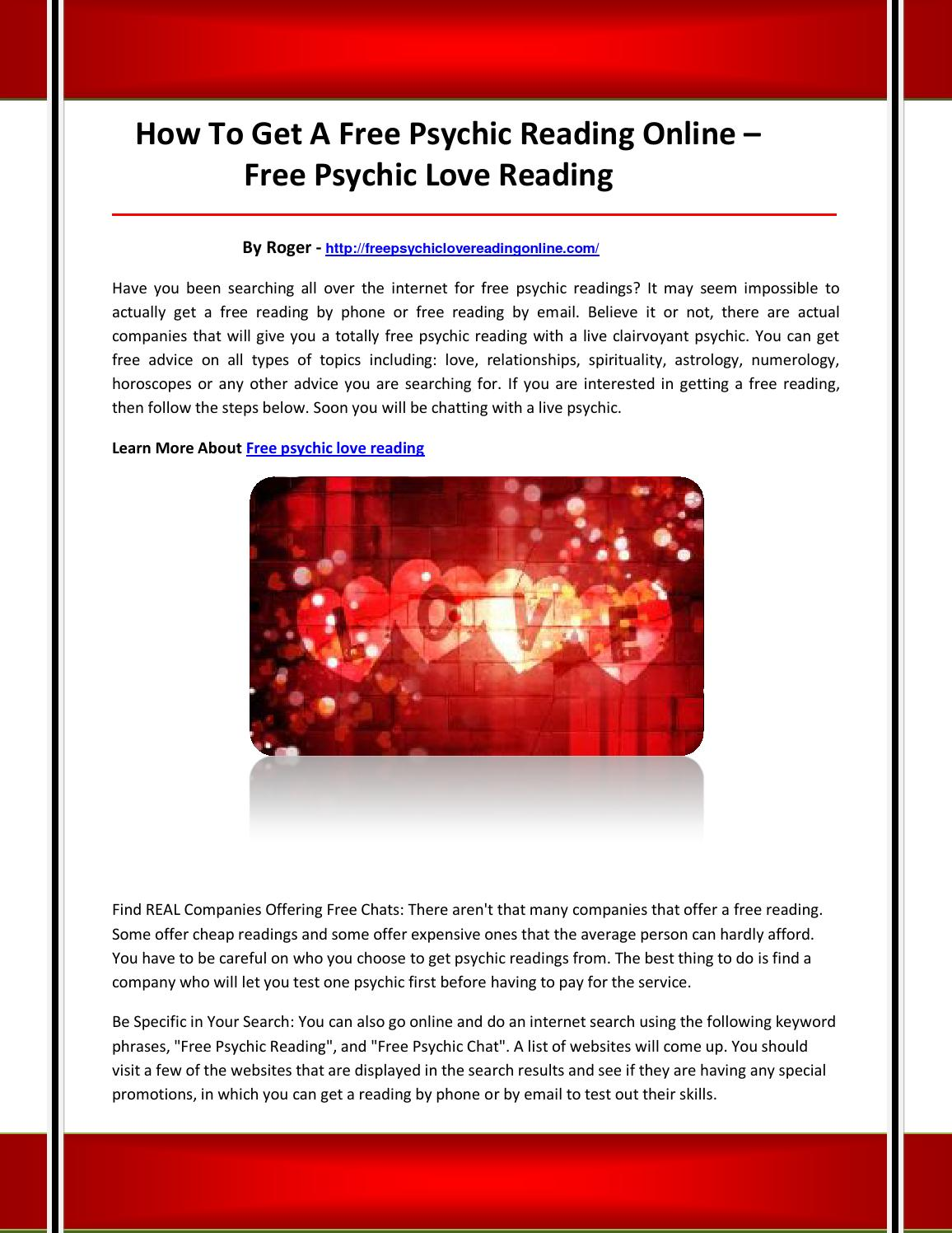 Reading free chat love Free Psychic