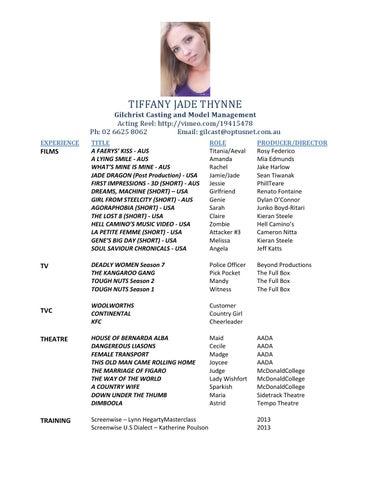 Acting CV Tiffany Jade Thynne By Tiffany Issuu