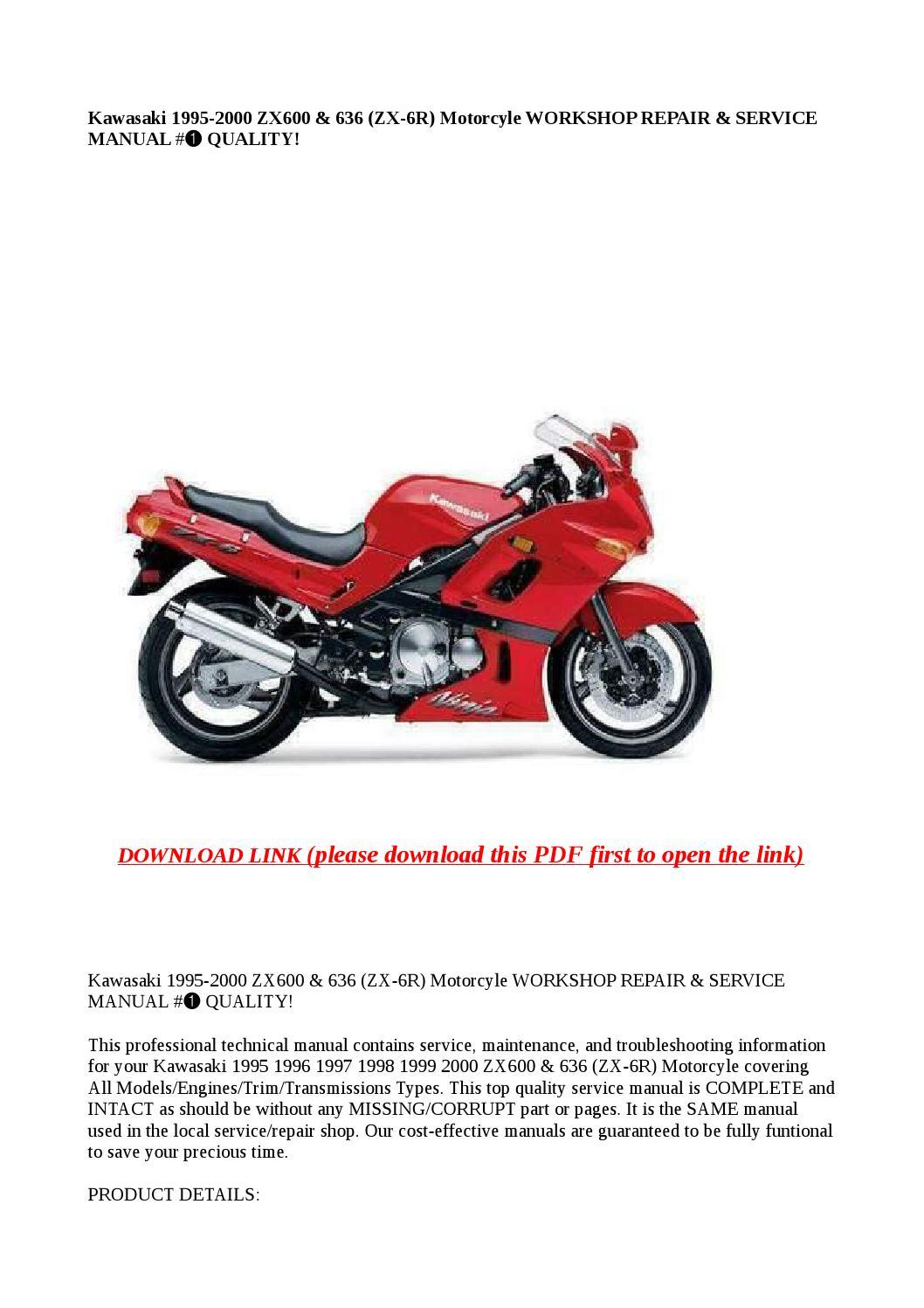 Kawasaki 1995 2000 Zx600  U0026 636  Zx 6r  Motorcyle Workshop