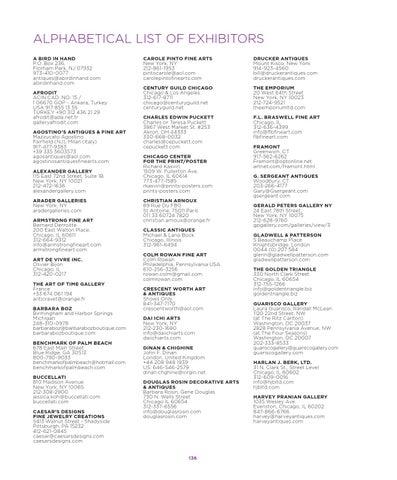Alphabetical List Of Exhibitors A Bird In Hand P O Box 236 Florham Park Nj 07932 973 410 0077 Antiques Abirdinhand Com Afrodit Acin Cad