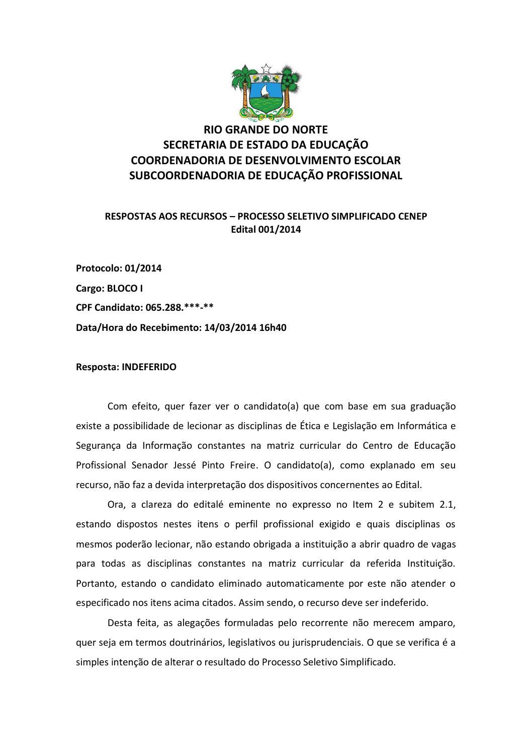 Respostas Recursos Edital 001 2014 Cenep By Assecom