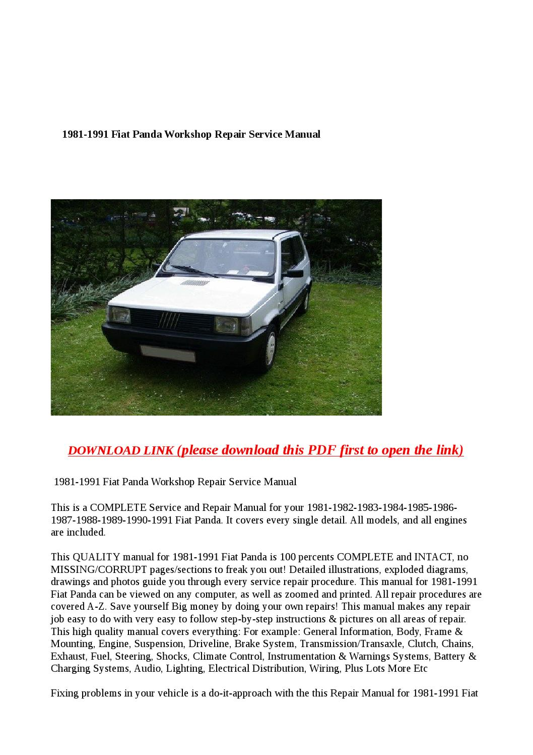 1981 1991 fiat panda workshop repair service manual by. Black Bedroom Furniture Sets. Home Design Ideas