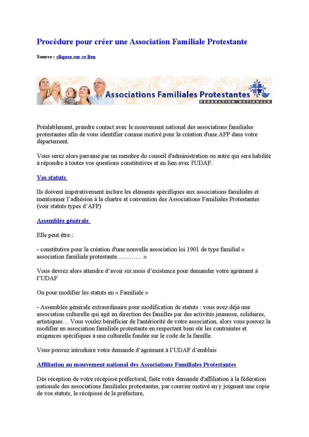 Procedure Pour Creer Une Association Familiale Protestante By