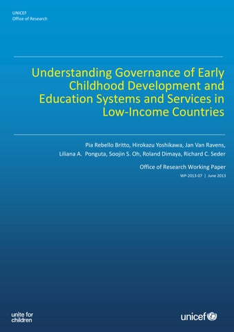 Understanding governance of early childhood development and page 1 unicef office of research understanding governance of early childhood development and education malvernweather Image collections