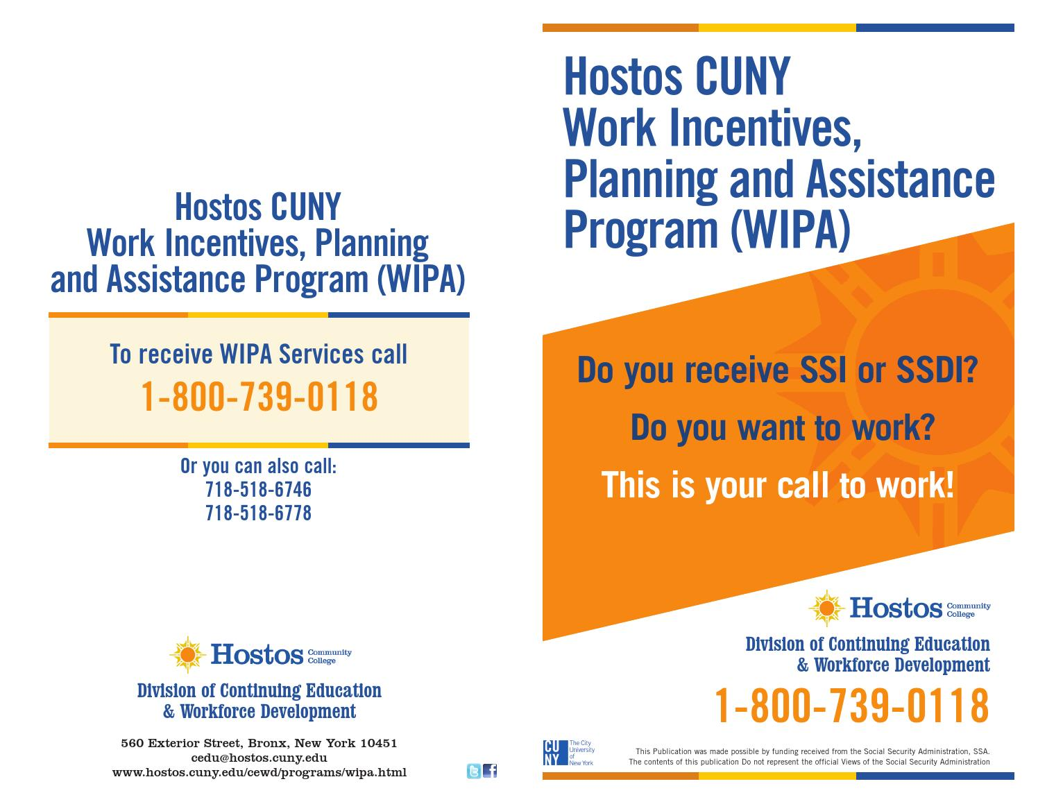 Work Incentives, Planning And Assistance Program (WIPA) By Hostos Community  College   Issuu