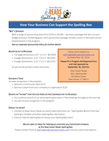 spelling-bee-supporting-the-bee-menu-2014 by New Haven Reads