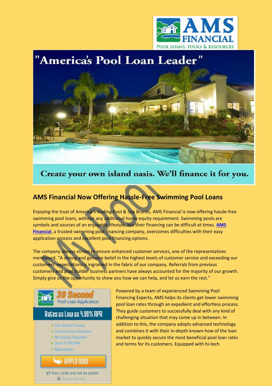 Ams financial now offering hassle free swimming pool loans for Swimming pool financing