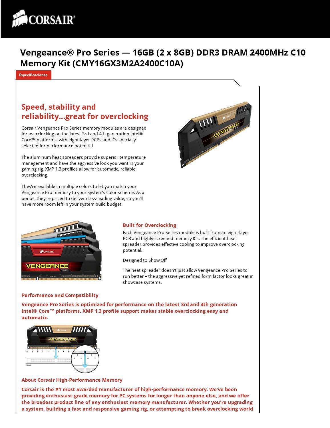 MEM-DIMM-DDR3 16GB-KIT CORSAIR