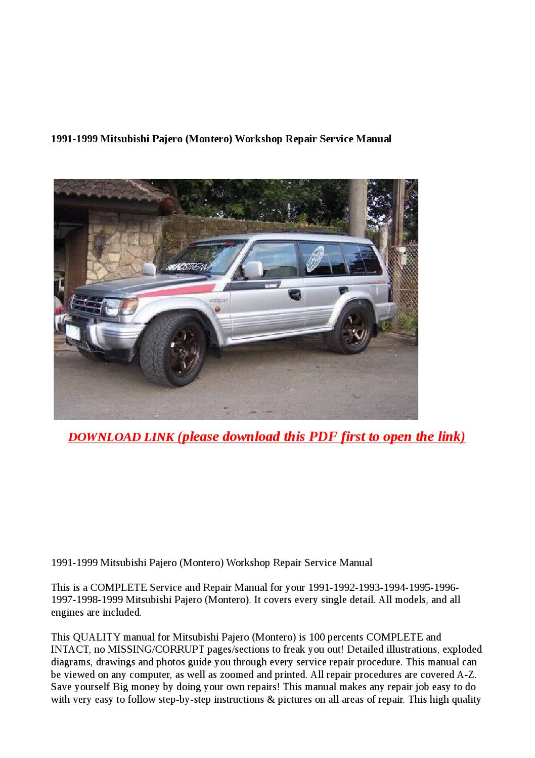 1991 1999 Mitsubishi Pajero  Montero  Workshop Repair Service Manual By Dale