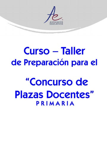 Curso de preparaci n para concurso de plazas de primaria for Concurso para plazas docentes