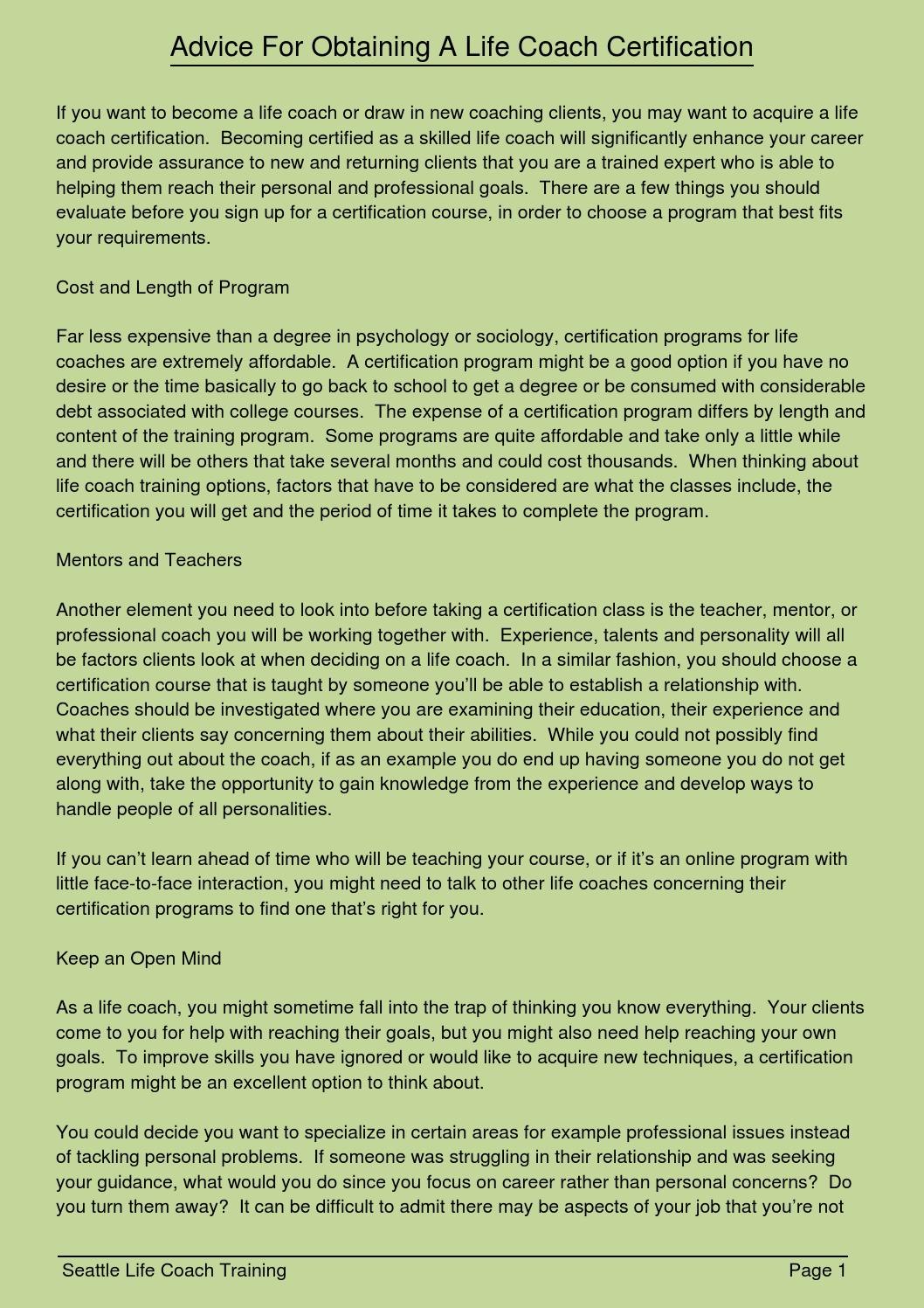 Advice For Obtaining A Life Coach Certification By Ppauline41422 Issuu