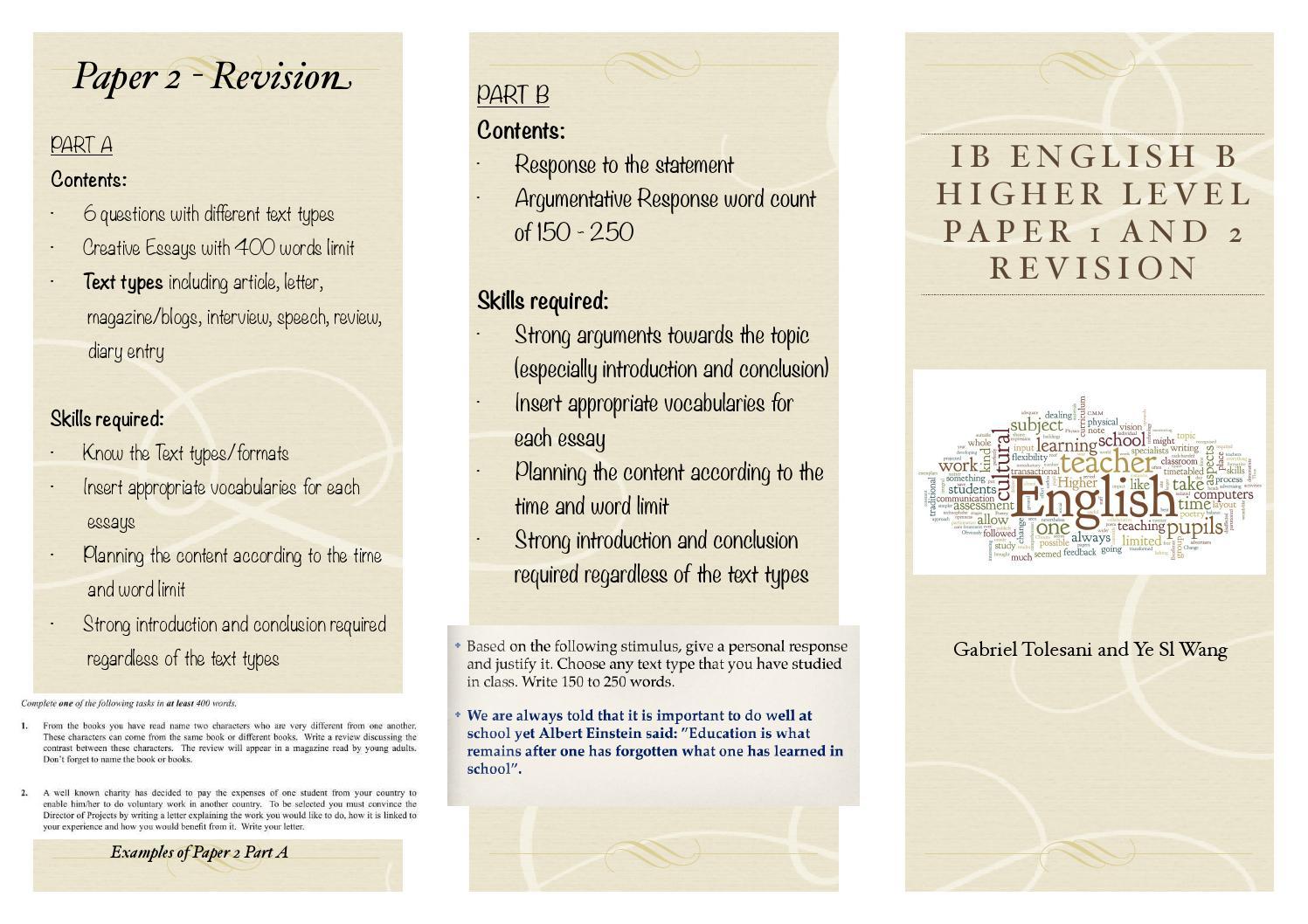 ib english paper 1 essay