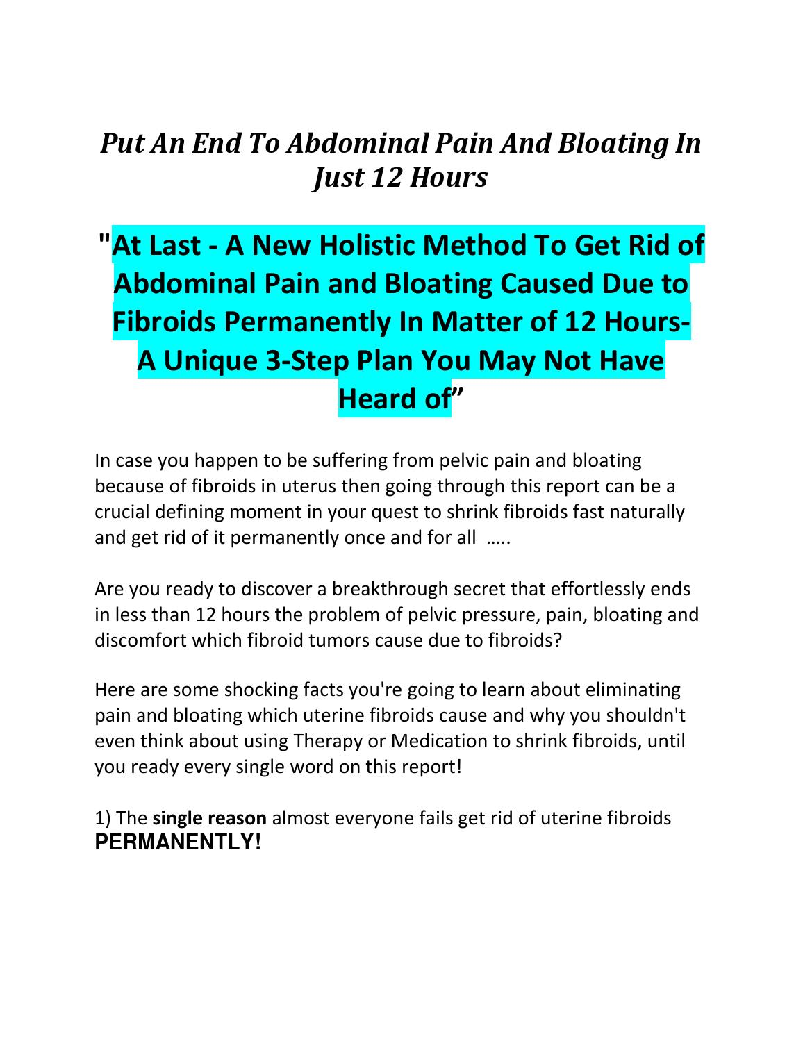 Shrink Fiboids Fast to Eliminate Fibroids Pain and Bloating