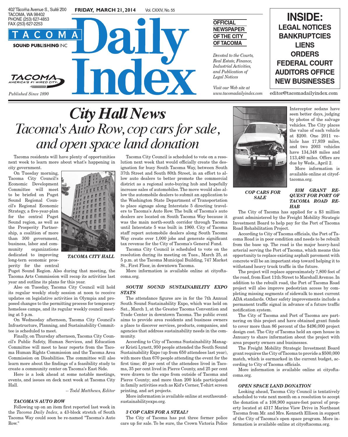 Tacoma Daily Index March 21 2014 By Sound Publishing Issuu