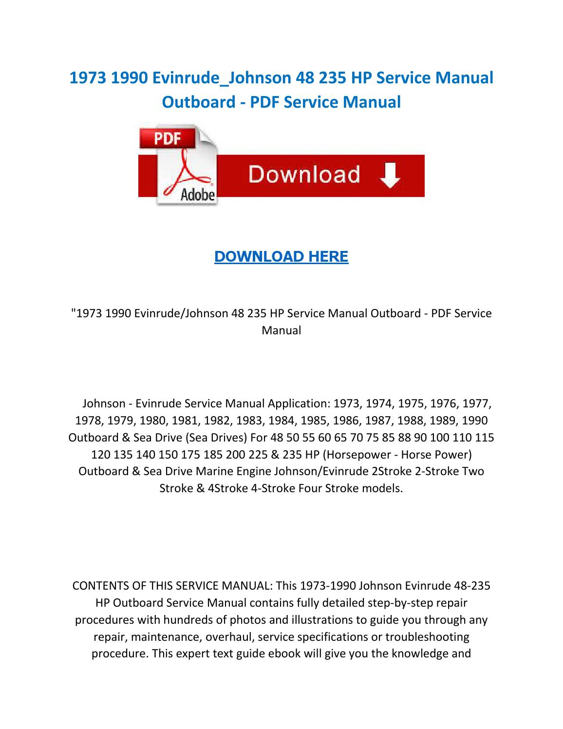 1973 1990 evinrude johnson 48 235 hp service manual outboard pdf service  manual by ServiceManuals - issuu