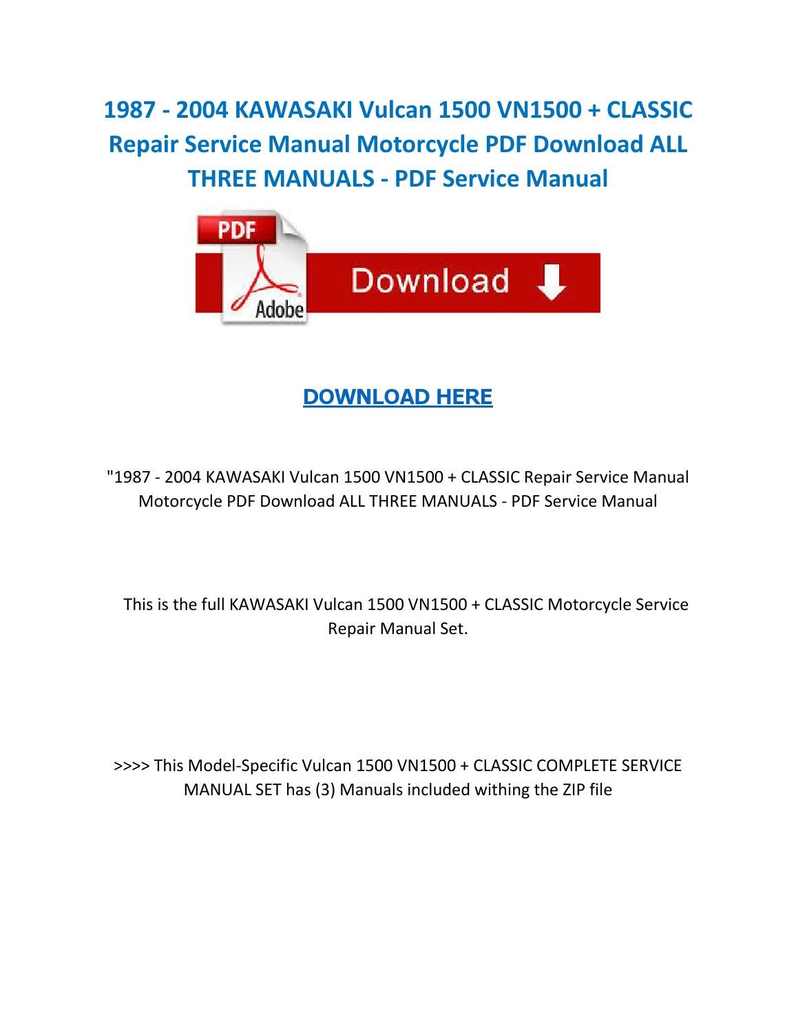 1987 2004 kawasaki vulcan 1500 vn1500 classic repair service manual  motorcycle pdf download all thre by ServiceManuals - issuu