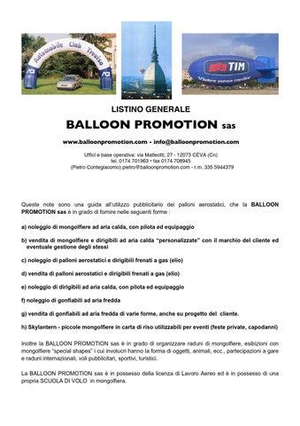 Palloni Ad Aria Calda.Listino Balloon Promotion 2014 By Pietro Contegiacomo Issuu