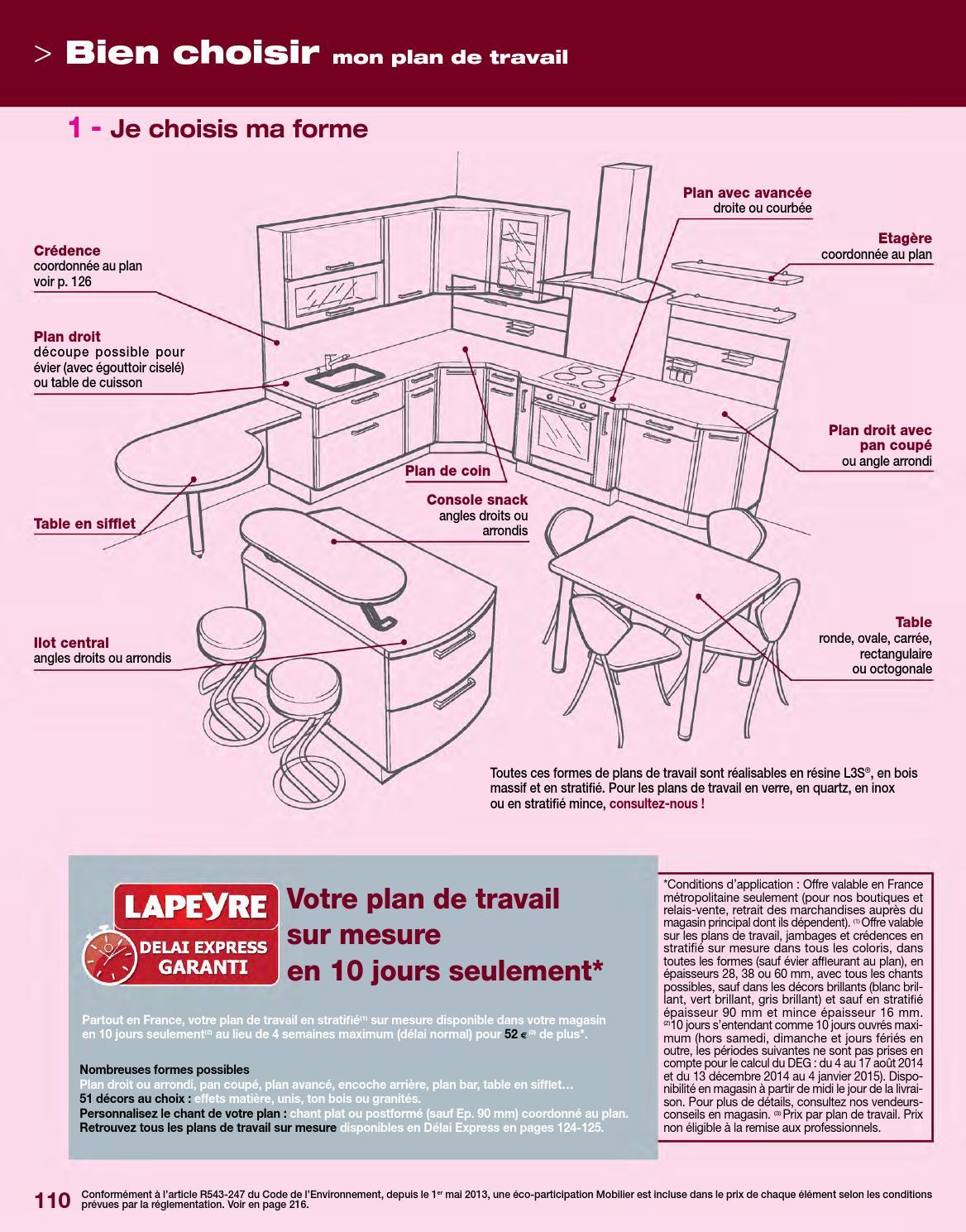 Plan De Travail Quartz Lapeyre Prix catalogue lapeyre - cuisines & électroménager 2014joe