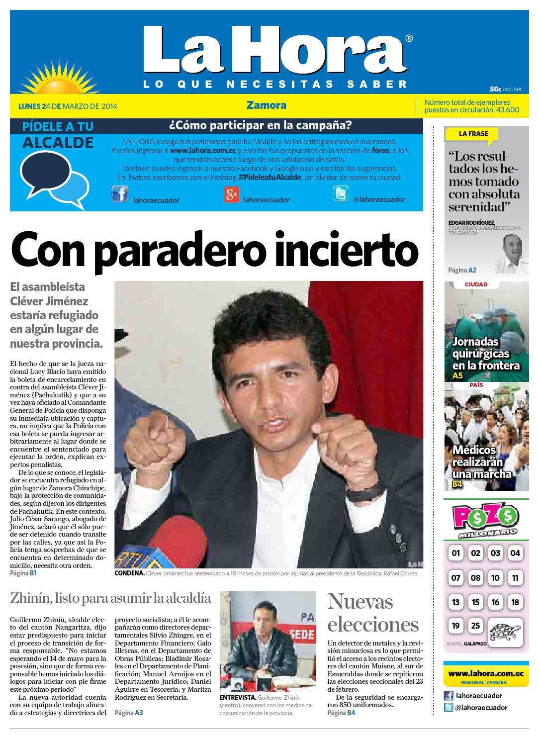 Diario La Hora Zamora 24 De Marzo 2014 By Diario La Hora Ecuador  # Muebles Dihogar