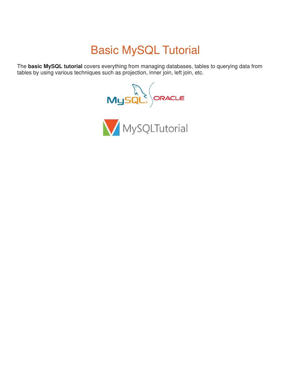 Mysql basic tutorial by thomasb issuu baditri Image collections