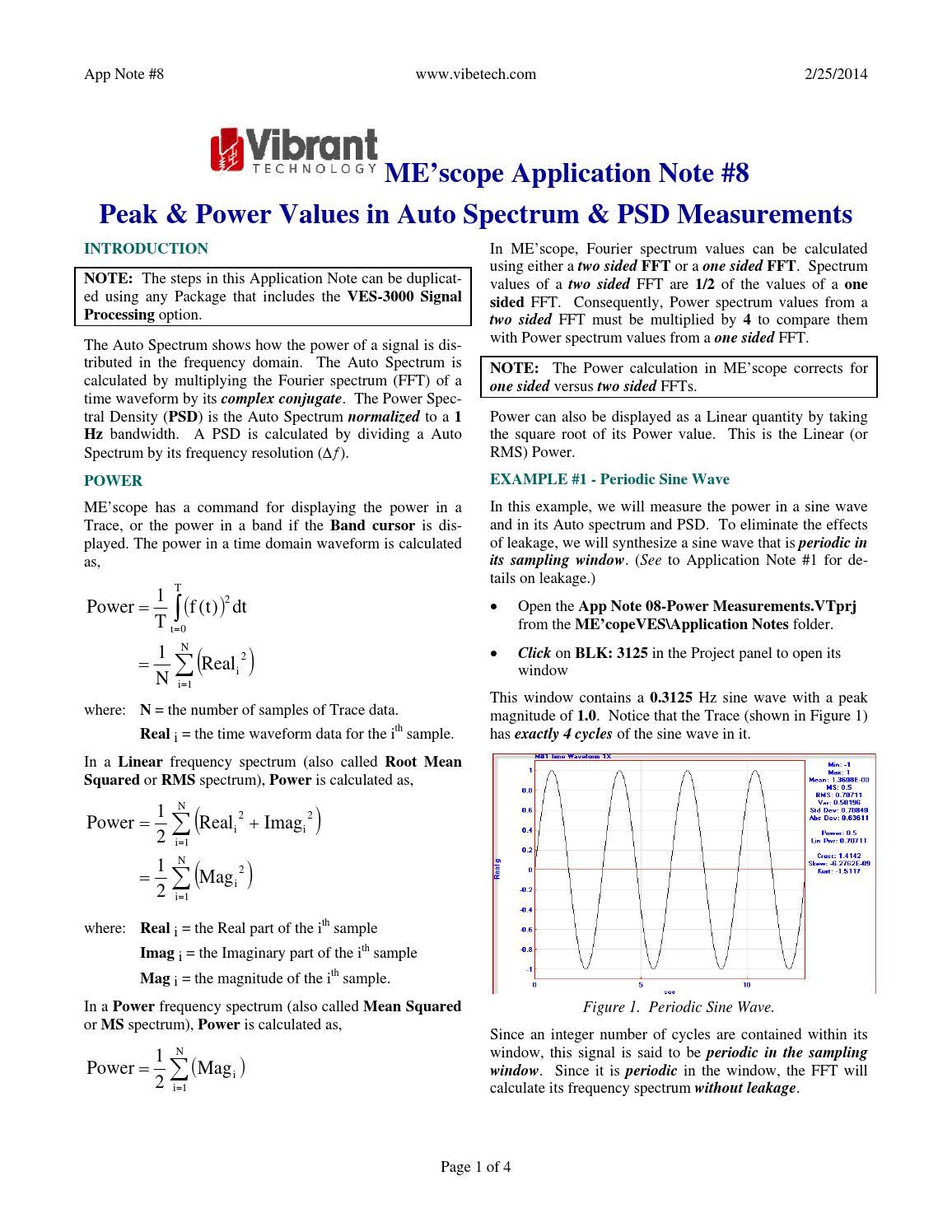 ME'scopeVES Application Note #08 - Peak & Power Values in