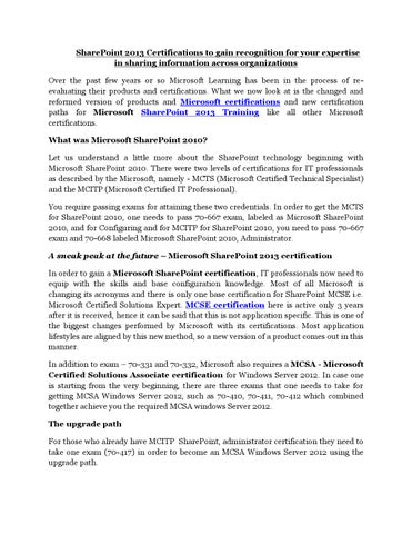 Microsoft sharepoint 2013 training and certifications pdf by ...