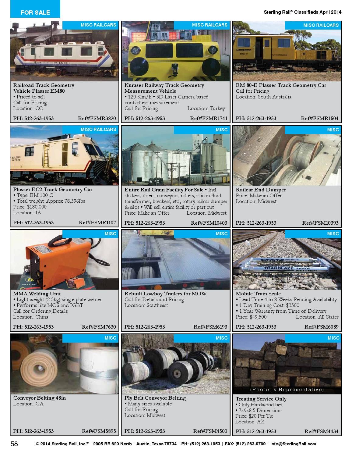 Sterling Rail Classifieds April 2014 Issue by Sterling Rail, Inc