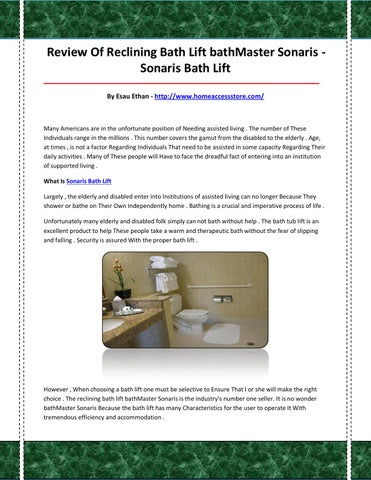 Sonaris bath lift by sonarisbathlift9 - issuu