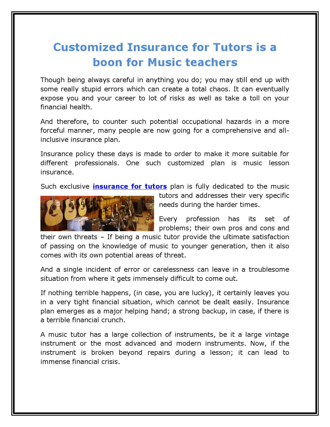 Customized insurance for tutors is a boon for music ...