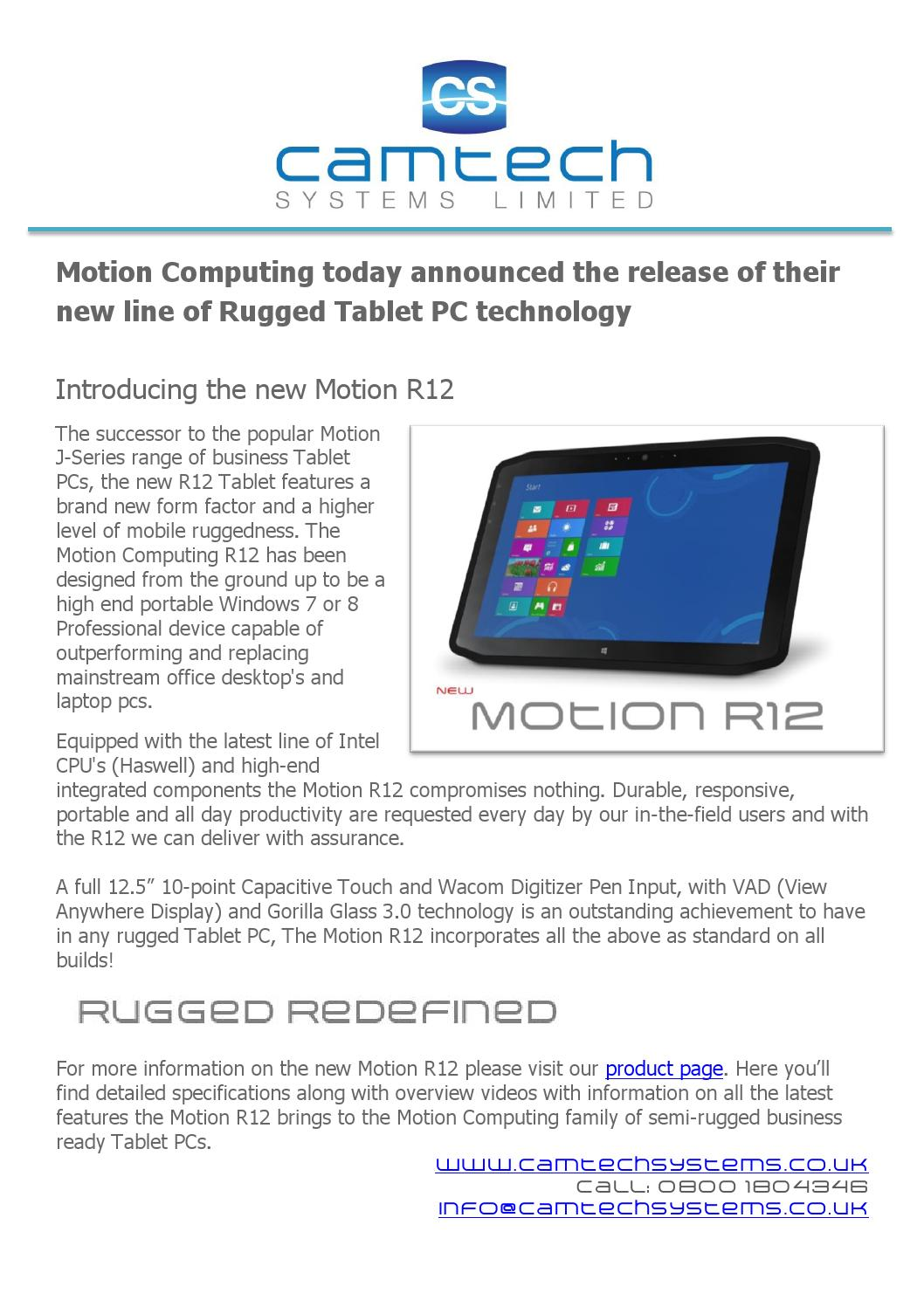 New Motion Computing R12 Windows Rugged Tablet Pc By Camtch Systems Issuu