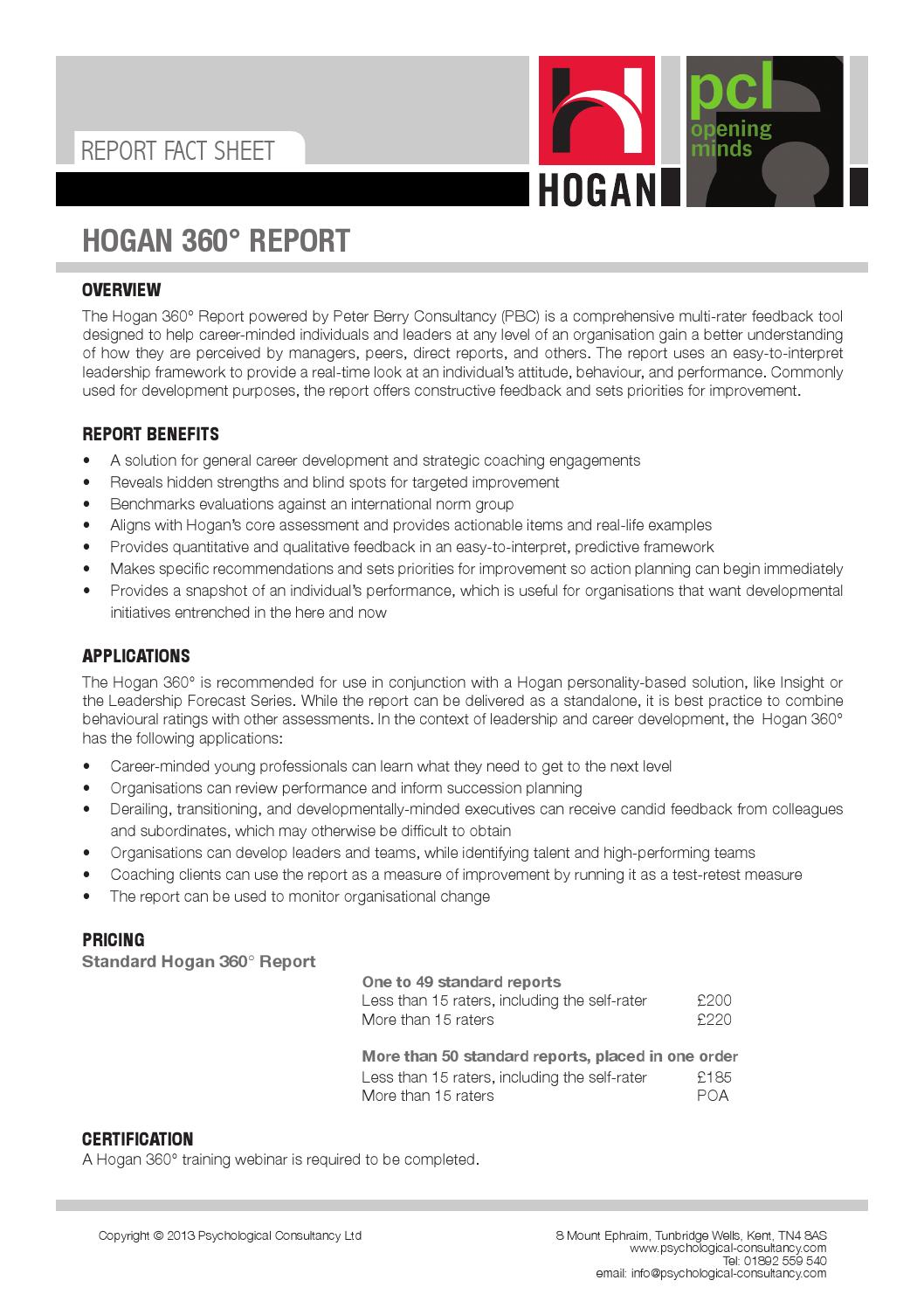 Hogan 360 report fact sheet by Psychological Consultancy Limited ...