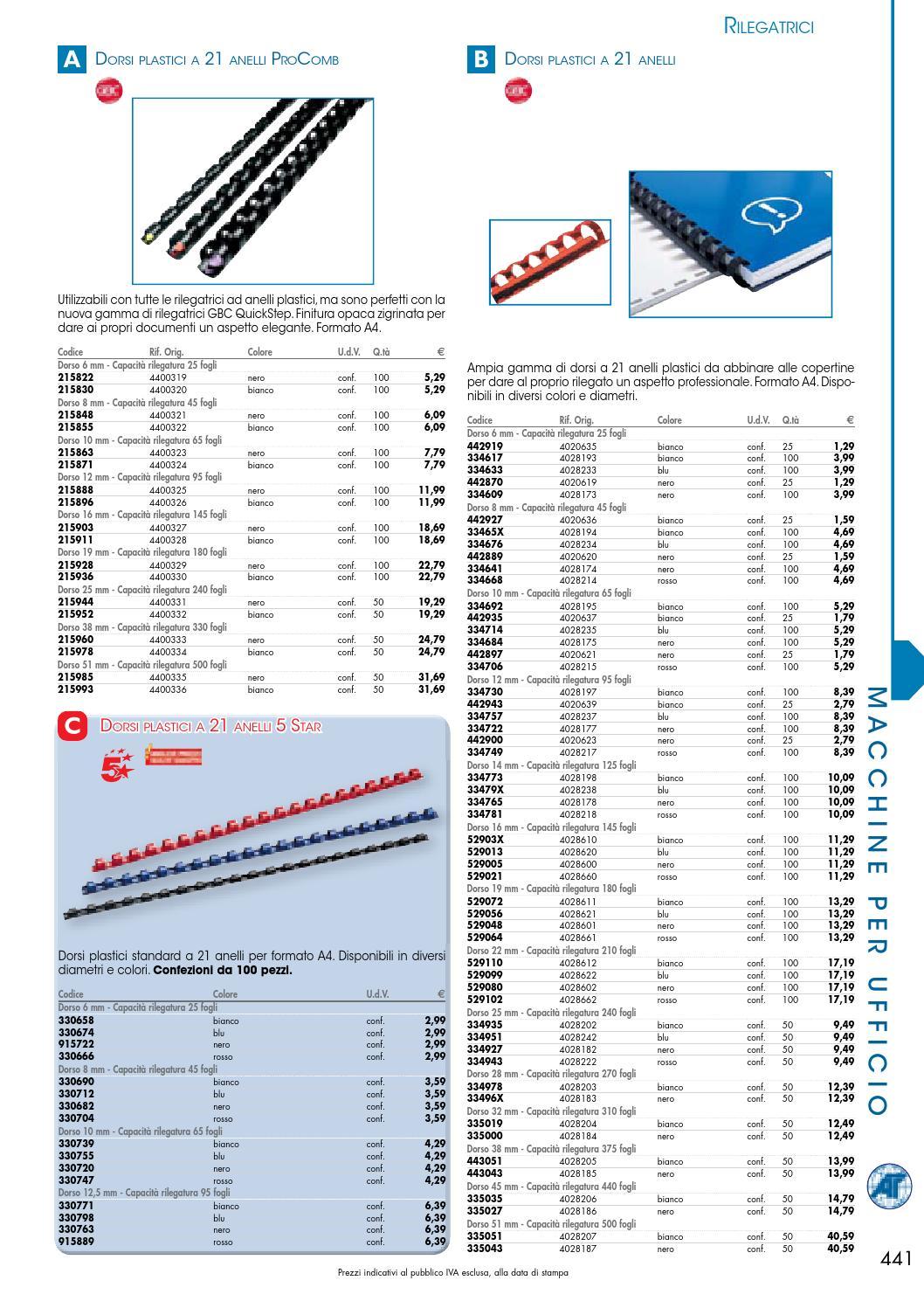 5 Star 330682 Dorso Plastico per Rilegatura da 8 mm Nero