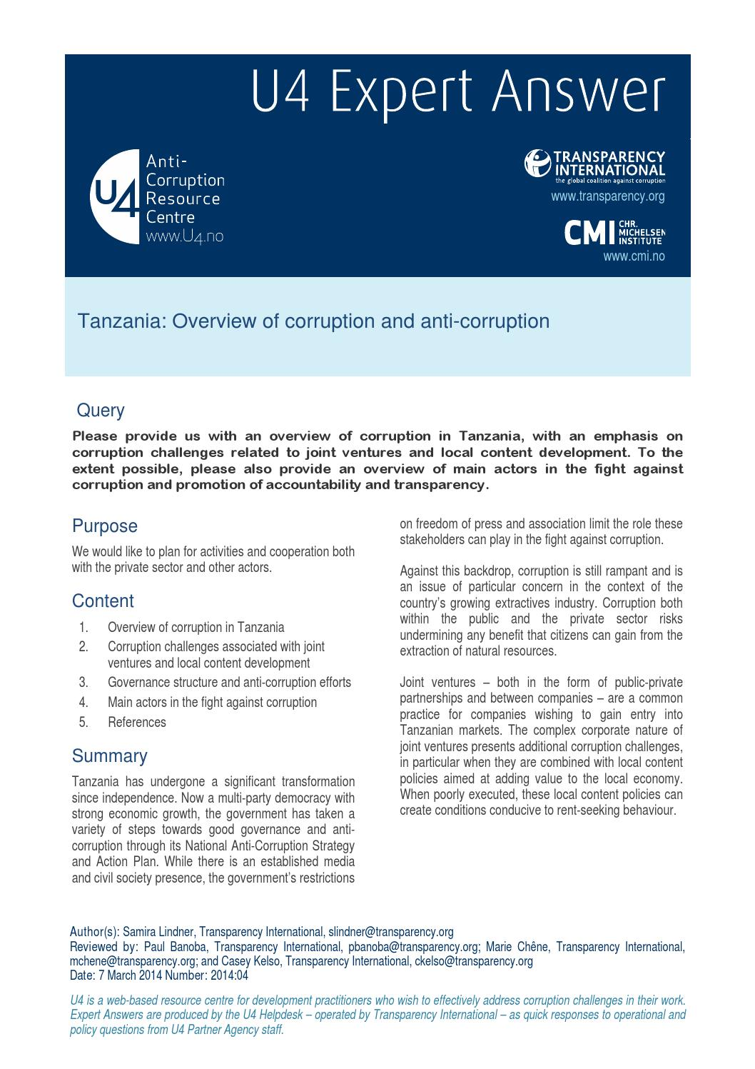 Tanzania: Overview of corruption and anti-corruption by CMI