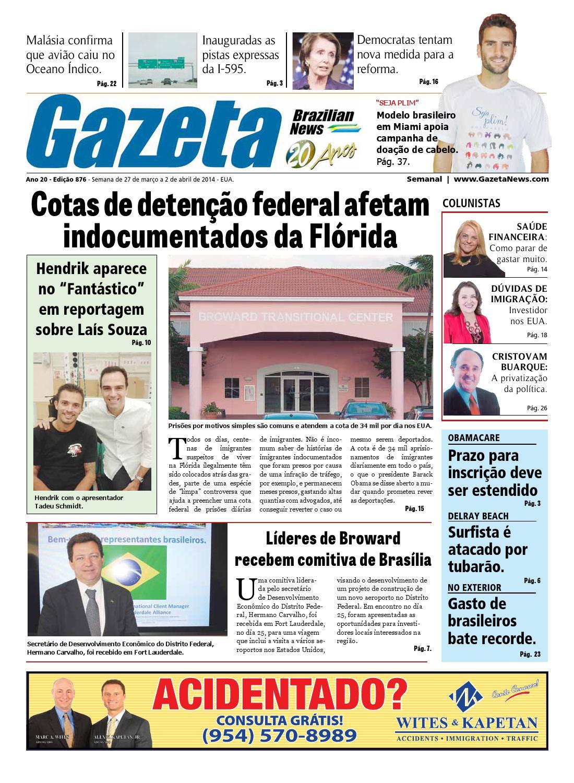 Edição 876 - De 27 de março a 2 de abril de 2014. by Gazeta Brazilian News  - issuu e8d434c2dcabf