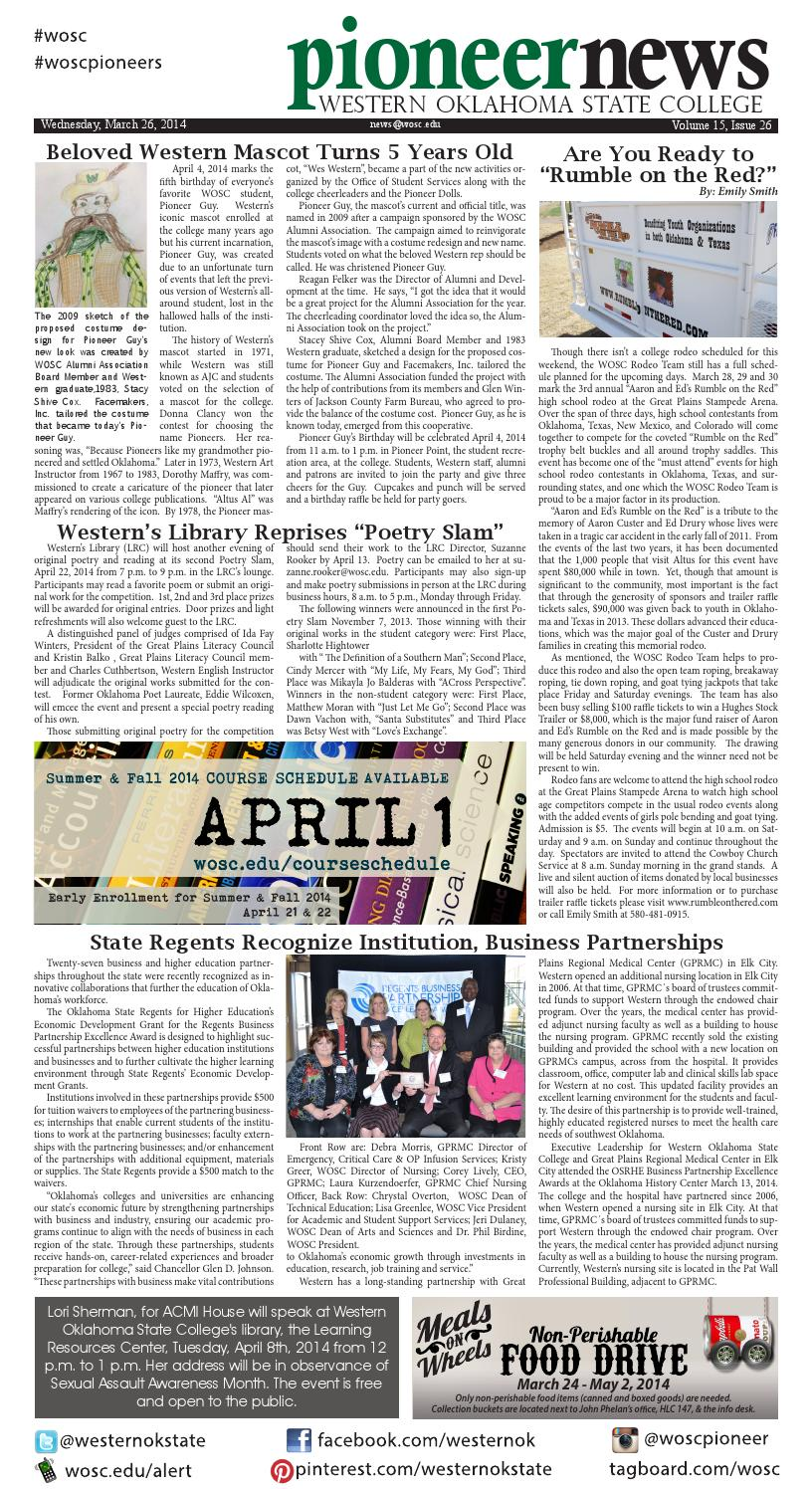 Pioneer News Vol 15 Issue 26 Mar 26 2014 By Western Ok State