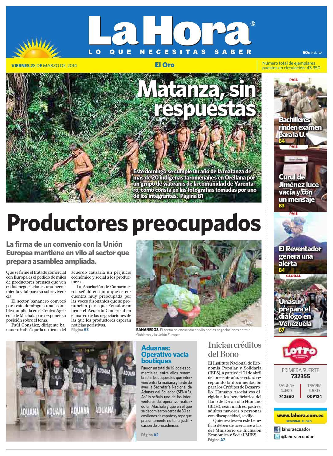 Diario La Hora El Oro 28 de Marzo 2014 by Diario La Hora Ecuador - issuu 7142c5af61e1
