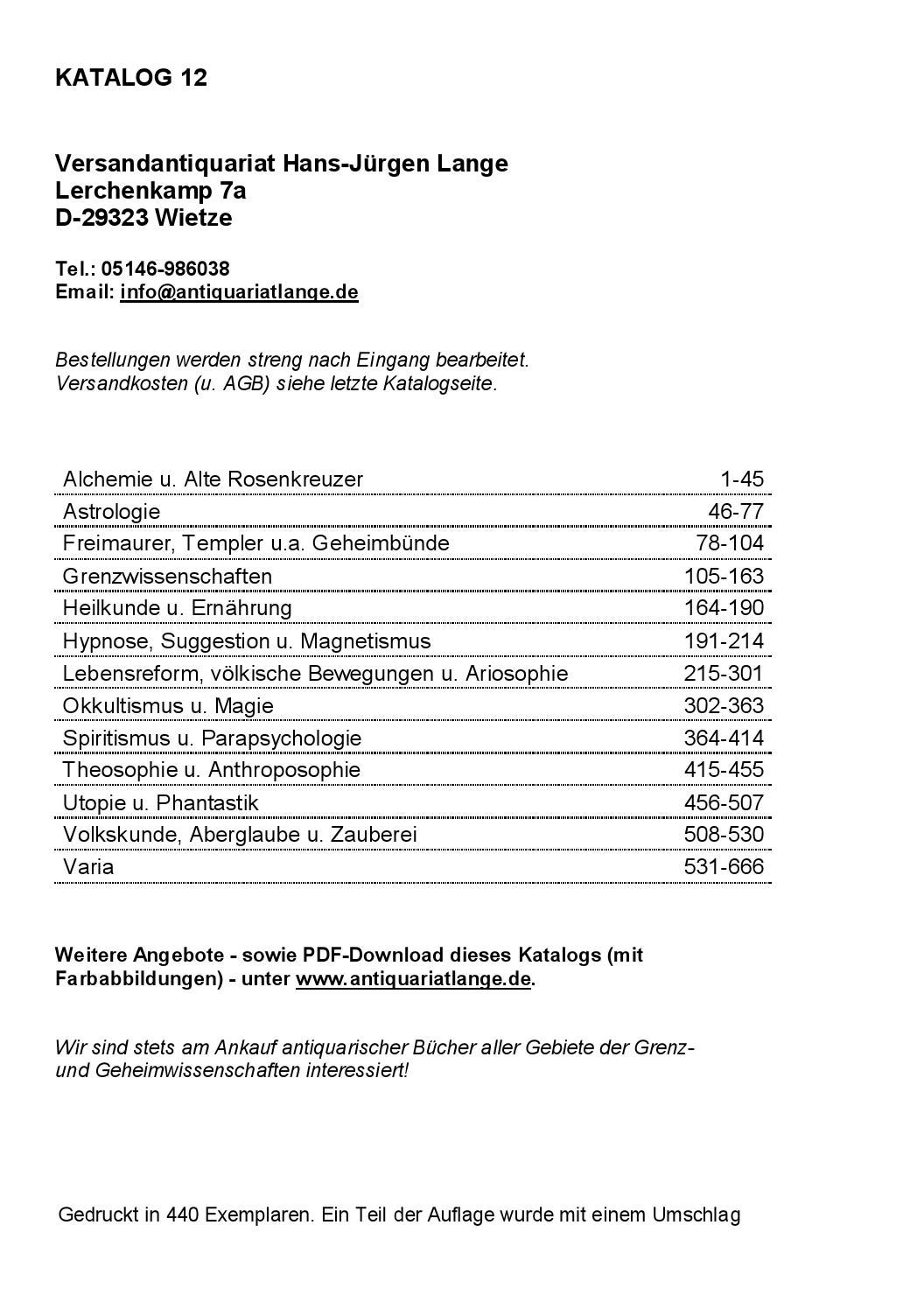 Katalog 12 - Versandantiquariat Hans-Jürgen Lange by Versandantiquariat  Hans-Jürgen Lange - issuu